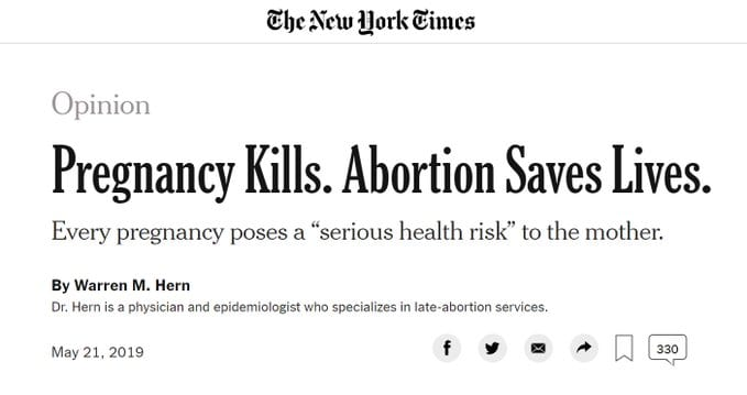 "Horrible New York Times Op-Ed Says ""Pregnancy Kills. Abortion Saves Lives"""