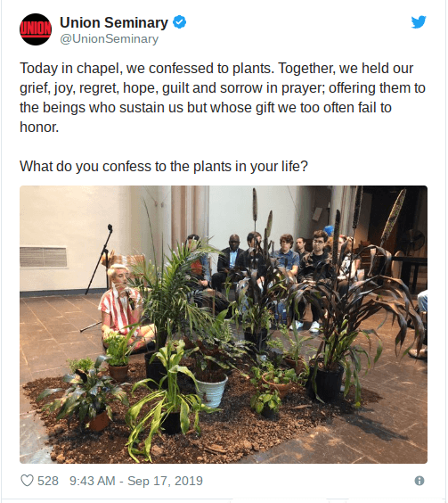 Bible Seminary students make confession to plants