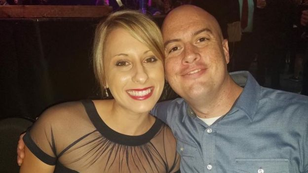 Katie Hill with her husband