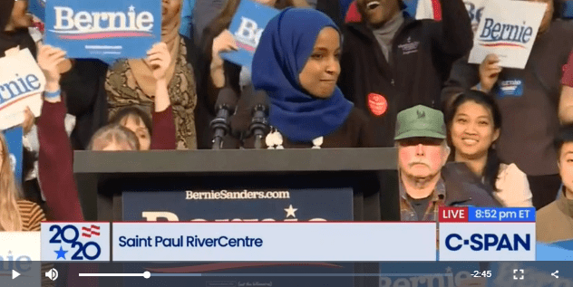 Ilhan Omar and Bernie Sanders