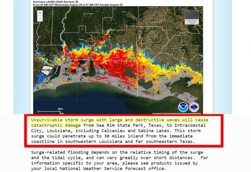 "!!!WARNING!!! Louisiana and Texas Hurricane Laura is a Category 4 'Unsurvivable Storm Surge' Up to 20 Feet ""Evacuate Immediately"" 'Storm Surge Could Surge Inland 30 Miles"""