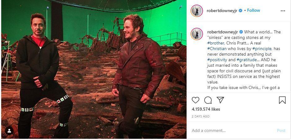 'A Real Christian': Avengers Robert Downey Jr. Defends Chris Pratt after Twitter Denounces Him for His Christian Beliefs