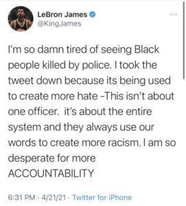 Hateful tweet by LeBron James