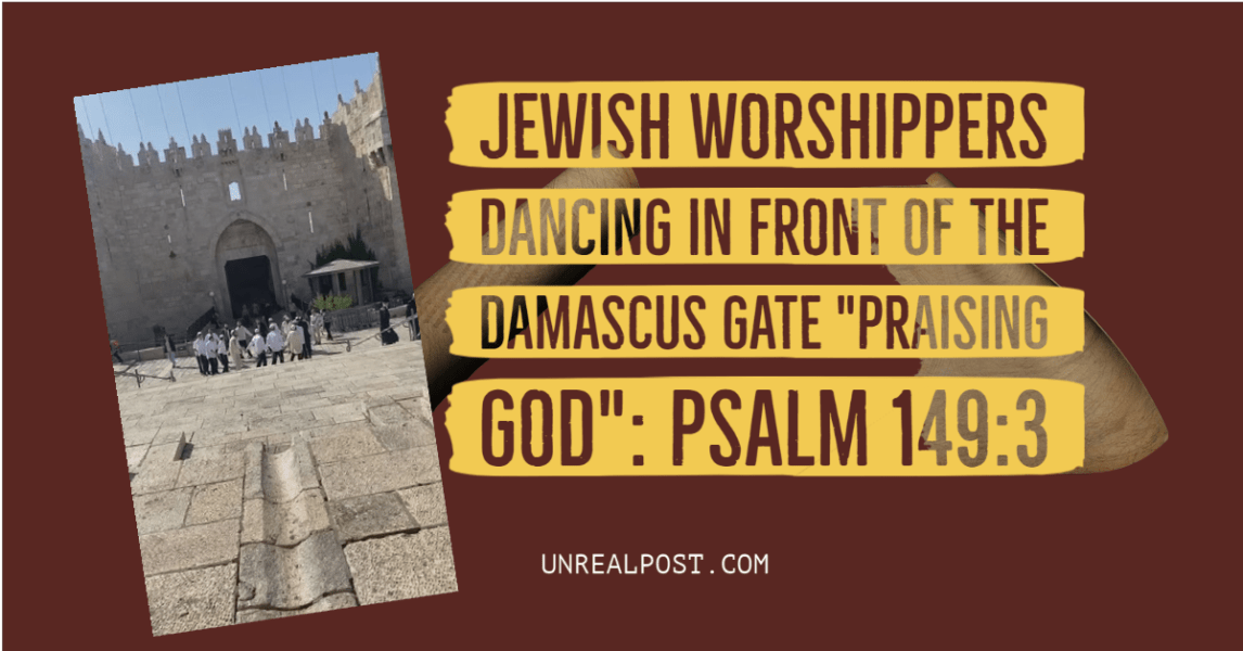 Jewish Worshippers Praise God in front of the Damascus gate in the middle of a war with terrorist